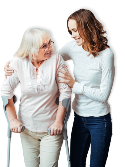 caregiver and elderly patient looking at each other