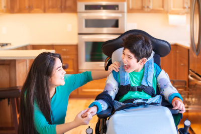 caregiver assisting the child